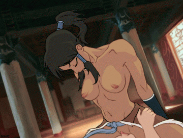 Busty avatar Korra ride on large man man trouser snake