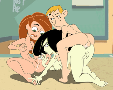 Shego has made Kim's vulva so moist... but Ron still wants to drill her in the butt!