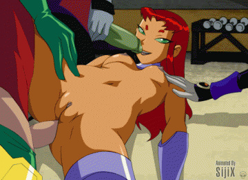 Starfire got pumped two-ways by Beast boy, Robin and Raven.