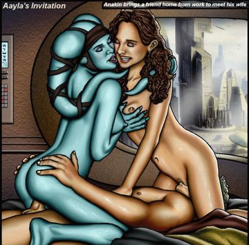 Aayla Secura graciously joins Anakin and Padme's fuckfest joy!