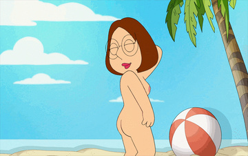 Naked beach photosession starring Meg Griffin!