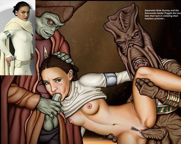 At Geonosis Padme was wellcomed by getting alien sausages in both her throat and vag!