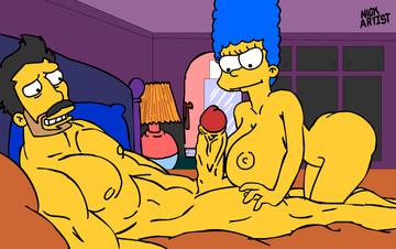 Marge Simpson can do boobjob and blowjob at the same time!