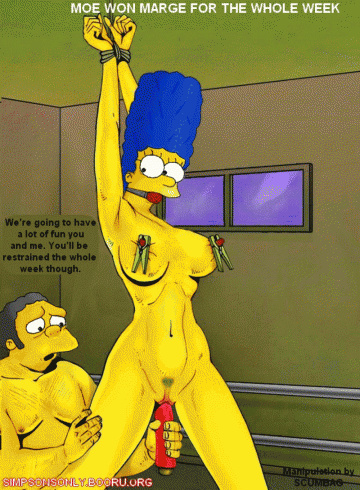 Huge-boobed Marge Simpson like bondage & discipline joy