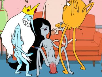 Marceline Jake Finn 1236211 - Adventure_Time Finn_the_Human Ice_King Jake_the_Dog Marceline PurplePrawn animated.gif