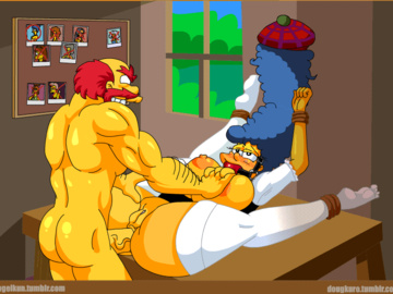 Marge Simpson Lisa Simpson Homer Simpson Maggie Simpson Jessie Lovejoy Ms. Krabappel  MilHouse Manjulla Maude Flanders Sherry And Terry Luann Van Houten Ned Flanders Nicole Watterson Selma Bouvier Groundskeeper Willie Santas' little helper 1660019 - Groundskeeper_Willie Marge_Simpson The_Simpsons animated kogeikun.gif