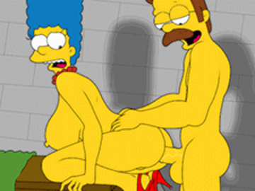 Marge Simpson Lisa Simpson Bart Simpson Jessie Lovejoy Ms. Krabappel  Manjulla Luann Van Houten Ned Flanders Seymour Skinner 1437497 - Marge_Simpson Ned_Flanders The_Simpsons animated.gif