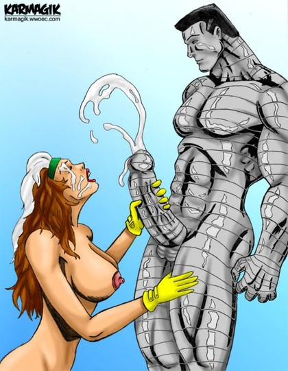Rogue sucks on Colossus's fat metal dick and gets his juicy cum all over her face.