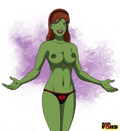 Miss Martian showing off her perfect, supple, sexy green tits