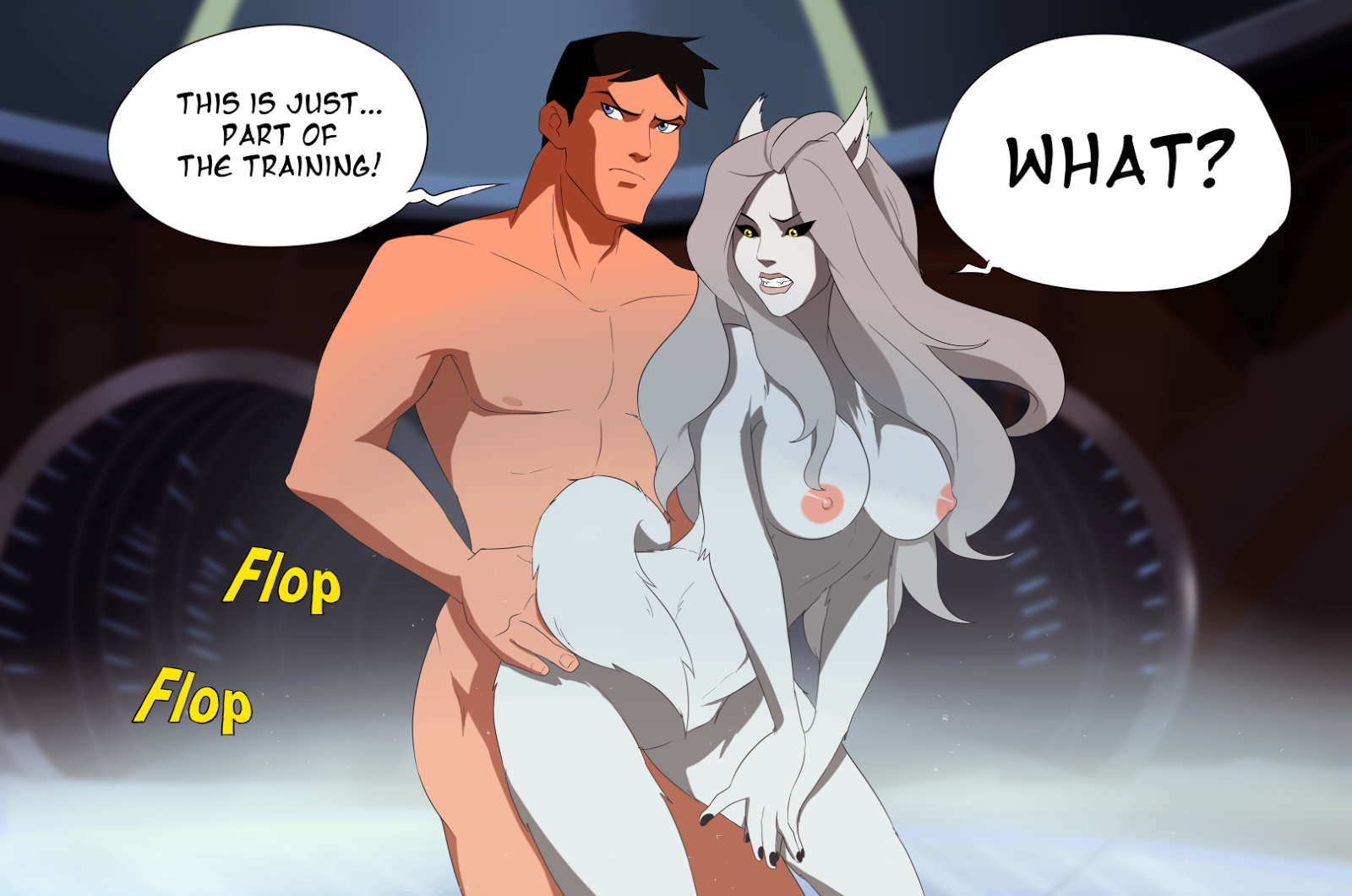 Superboy fuck sexy busty furry female from behind
