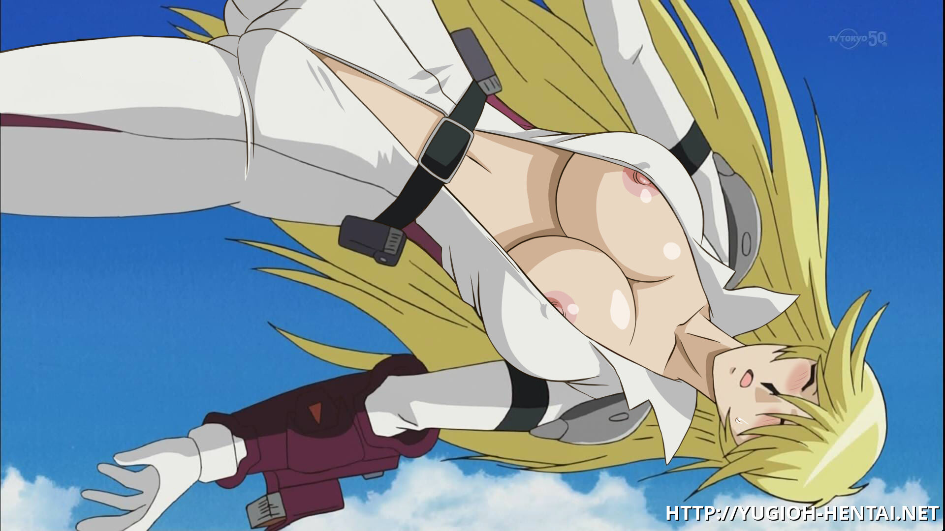 "This busty blonde from ""Yu Gi Oh"" loves the feeling of wind touching her pink nipples!"